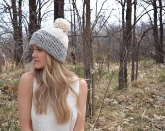 Cozy Knitted Beanie Hat / Grey & Cream Double Brim Pom-Pom Hat / Wool Yarn