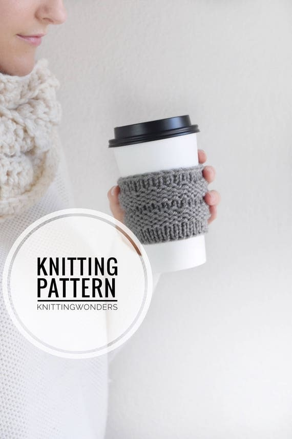 Knitting Pattern / Coffee Cozy Tea Cup Sleeve Holder / Knit