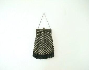 1920's art deco black checkerboard beaded purse