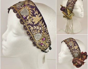 Vintage Sari Headdress Base- Dark Plum and Gold Tribal, Boho, Festival or Bridal Headpiece