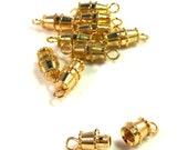 10 Twist Barrel Clasps, Strong Gold Plated Metal, 15mm Metal Jewelry Clasp. Large Strand Holes, Gold Findings Supplies