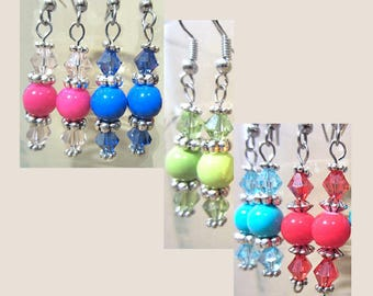 Glass Gumball Bead & Twin Crystal Pierced Earrings w/Silver Accents, Handmade 3 Tiered Crystal Earrings, Bright Colored Summer Jewelry