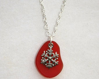 Holiday Jewelry, Winter Jewelry - Cherry Red Cultured Glass Pendant with Snowflake Charm, Gift for Her