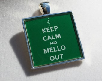 Marching Band Jewelry - Mellophone Jewelry - Keep Calm and Mello Out  - Mellophone Square Resin Pendant