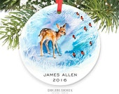 Baby Ornament Baby's First Christmas Ornament Fawn Deer Personalized Christmas Ornament Personalized New Baby Boy Gift Newborn Ornament Gift