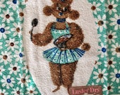 Vintage Set of 2 Poodle Turquoise & Brown Terrycloth Kitchen Towels Luster Dry Cannon New Old Stock