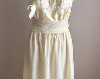 Vintage 1950s Women's Kickernick Restware Nightie Nightgown Yellow 4 6 Small