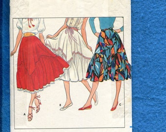 Vintage 1980's Butterick 4212 Flared Western Skirt with Kerchier Ruffled Tier Size 6