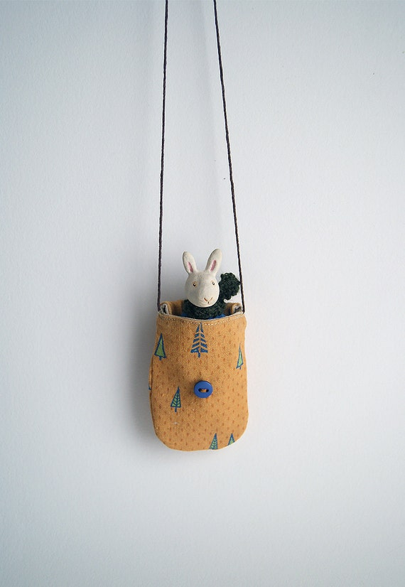 lucky rabbit in mini button bag - ceramic bunny - cloth pouch