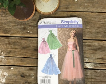 Dress Pattern, Simplicity 3878, Jessica McClintock, formal dress, gala, red carpet, sewing, crafting,  UNCUT pattern, women, ladies, girls