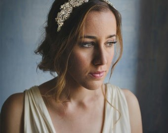 Beaded crystal statement headpiece, white and opal headband - style 247