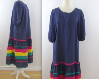 Rainbow Chambray Peasant Dress - Vintage 1970s Farmhouse Dress in Large xLarge by Appel