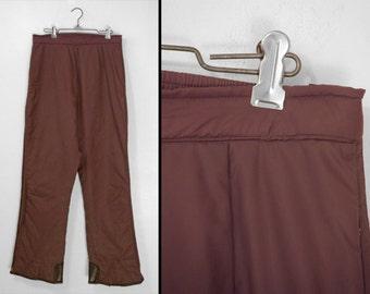 Brown Ski Pants 1980s ASPEN brand Unisex Size Medium Stretch Waist Snowboard