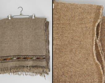 Tribal WOOL Blanket 70s Oatmeal Brown Orange + Green Fringed Earthy 98 x 47