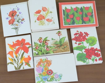 50 Piece Lot Vintage Red and Orange Flowers Blank Greeting Cards