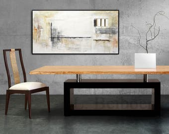 Original Abstract art painting large contemporary oil painting 24 x 48 artwork wall art white modern industrial by Beiboer