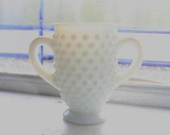 Milk Glass Hobnail Sugar Bowl Vintage 1960s