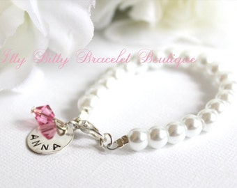 baby girl pearl bracelet hand stamped sterling silver charm new baby gift keepsake