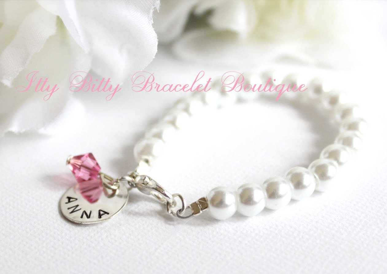 Baby Girl Pearl Bracelet Hand Stamped Sterling Silver Charm