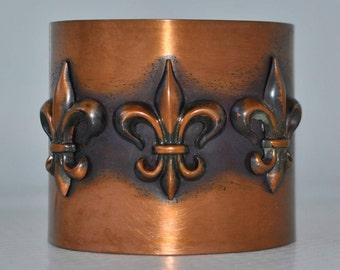 Rebajes Fleur Di Lis Vintage 1950's Copper Cuff Bracelet Fluer 50's jewelry Vintage French