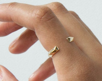 Open Minimalist Ring, Triangle Geometric Band, Silver or Brass Ring, Camillette80