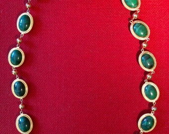 Vintage Valentino Long Necklace with Faux Jade Cabachons - 1960s - Made in Italy