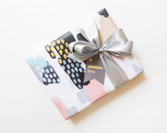 Gift Wrapping Paper - Modern Wrap Set in Blush Abstract Dot