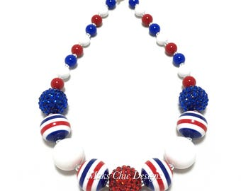 Toddler or Girls Fourth of July Striped Chunky Necklace - Red, White and Blue Necklace - Patriotic Necklace -  Girls 4th of July Necklace