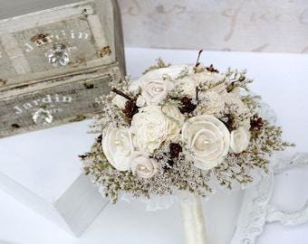 Romantic Winter Bouquet // Dried Flower, Pine Cone, Sola Wood, Twigs, Lace, Bridesmaid, Bridal Bouquet, Small Bride Bouquet, Wedding Bouquet