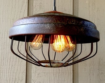 Rustic Hanging Light Upcycled Primitive Chicken Feeder