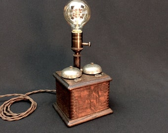 Table Lamp Upcycled Antique Telephone Bell Box