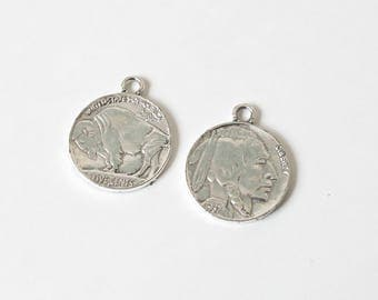 10 Tibetan Coin Pendants - Antique Silver - Round - Indian Head with Buffalo on Other Side - 40mm - Ships IMMEDIATELY from - SC1307a