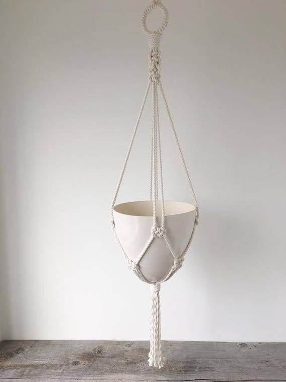 Large Bullet Hanging Planter, Includes both Porcelain Pot and Macrame Cotton Hanger