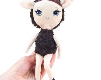 Brown lamb doll, embroidered doll, fabric doll, sheep, art doll, stuffed doll, cloth doll, soft plush doll, stuffed lamb toy, farm animal