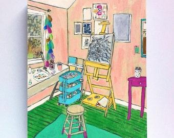 Colorful art studio interior still life original painting - The Artist's Studio IV