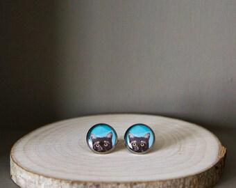 Black cat earrings /blue stud earrings. Resin cat jewelry. Cat ears. Statement earrings forcat lover