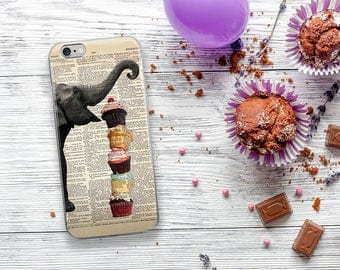 ELEPHANT Loves Cupcakes Dictionary Art iPhone 7 Case, iPhone 7 Plus Case, Elephants Funny Animal iPhone 6s case, iPhone 6 plus Cover