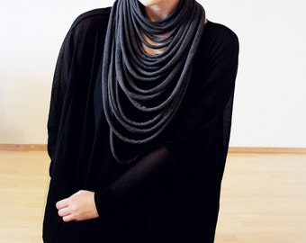 Layered necklace, layered and long, long layered necklace, tribal scarf -  The padaung neckwarmer - handmade in charcoal jersey fabric