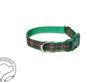 "NEW width - Cameron of Lochiel Tartan Small Dog Collar - Thin Dog Collar - 1/2"" (12mm) Wide - Green Plaid - Choice of collar style and size"