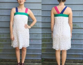 60s-70s handmade open lace shift dress