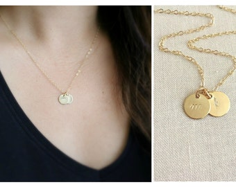 Cursive Initial Necklace | Initial Disc Necklace | Monogram Necklace | Bridesmaids Gift | Gift For Mom | Christmas Gift |