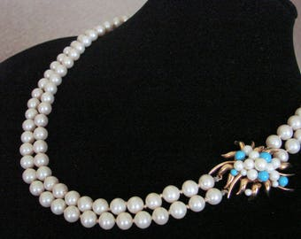 Vintage Designer Signed MARVELLA Glass Pearl Necklace / Blue Beads / Ornate Clasp / Matinee Necklace / Jewelry / Jewellery