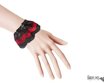 W24 Black and Red Wrist Cuffs with bead drop