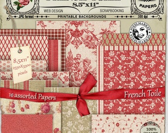 FRENCH TOILE PAPERS Realistic Digital Fabric Texture Burlap Background for Scrapbooking Photography Printable Download 215
