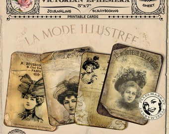 French Vintage ADS Antique Advertising Victorian Ladies with hat Sepia Ephemera Journal Page Printable Download Digital Scrapbooking p25