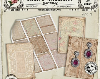 French Vintage Lace JEWELRY DISPLAY CARDS Atc Aceo 2,5x3,5 Printable Download Scrapbooking Collage Sheet Lace Papers Lace Background c02