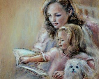 Reading illustration, Mother and daughter 'Bedtime Story'  Canvas or art paper art print, Laurie Shanholtzer