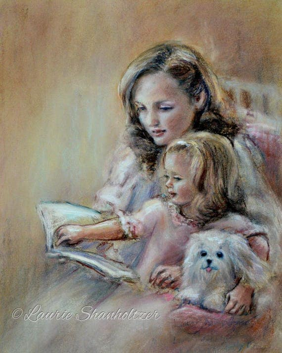 Mother's day, Reading, Mother and daughter 'Bedtime Story'  Canvas or art paper art print, Laurie Shanholtzer
