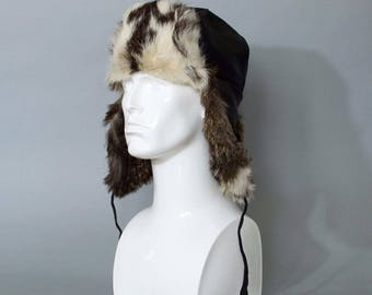 """Vintage Fur Trapper Warm Winter Hat Aviator Style Ear Flaps Small 54cm 21"""" FREE UK SHIPPING"""