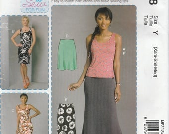 Easy Dress, Skirt and Top Pattern McCalls 7386 MP218 Sizes XS, S, M (4 - 14) Uncut